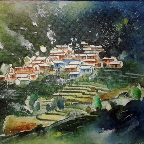 village of hill area, 12 x 9 inch, hitesh kumar,paintings,landscape paintings,paintings for dining room,paintings for living room,paintings for bedroom,paintings for office,paintings for hotel,canvas,acrylic color,12x9inch,GAL0411511030