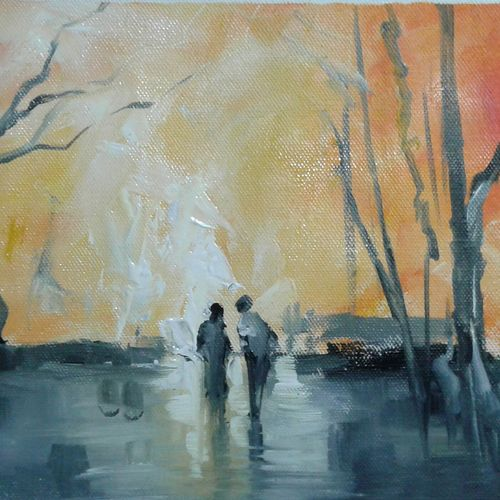 evening time, 13 x 8 inch, hitesh kumar,paintings,landscape paintings,paintings for dining room,paintings for living room,paintings for bedroom,paintings for office,paintings for kids room,paintings for hotel,canvas,oil,13x8inch,GAL0411511033