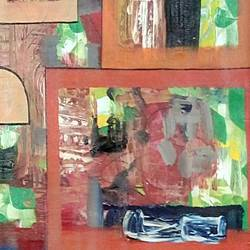 brown cube shade , 30 x 20 inch, naheem rustum,abstract paintings,paintings for office,canvas,acrylic color,30x20inch,GAL034411036
