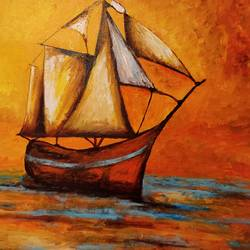 ancient ship, 24 x 18 inch, sajal jain,paintings,conceptual paintings,nature paintings,expressionist paintings,impressionist paintings,portraiture,surrealist paintings,paintings for dining room,paintings for living room,paintings for bedroom,paintings for office,paintings for bathroom,paintings for kids room,paintings for hotel,paintings for kitchen,canvas,acrylic color,24x18inch,GAL0476311039Nature,environment,Beauty,scenery,greenery,beautiful,water,sunset,boat,sailing