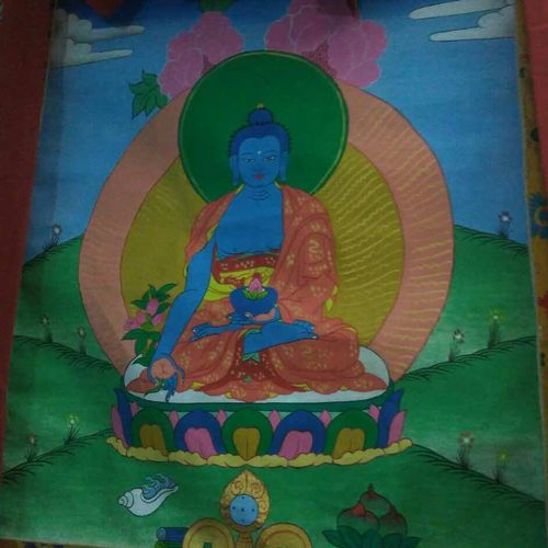 medicine buddha tibetian thangka, 29 x 43 inch, anup karkal,buddha paintings,paintings for living room,paintings for office,paintings for living room,silk,ink color,natural color,pencil color,oil paint,29x43inch,religious,peace,meditation,meditating,gautam,goutam,buddha,lord,green,monk,idol,GAL0477211047