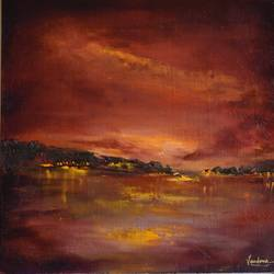 afterglow, 12 x 12 inch, vandana mehta,paintings,abstract paintings,landscape paintings,abstract expressionist paintings,impressionist paintings,contemporary paintings,love paintings,paintings for dining room,paintings for bedroom,paintings for office,paintings for hotel,paintings for dining room,paintings for bedroom,paintings for office,paintings for hotel,canvas board,oil,12x12inch,GAL0402311048