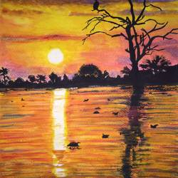 golden sunset, 9 x 12 inch, suhani goel,nature paintings,paintings for living room,love paintings,renaissance watercolor paper,watercolor,9x12inch,GAL04621105Nature,environment,Beauty,scenery,greenery,trees,water,beautiful,leaves