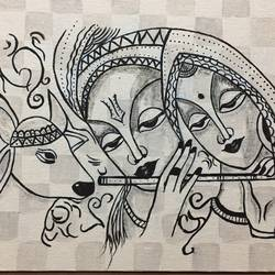 radha krishna black and white, 12 x 10 inch, swati verma,paintings,religious paintings,radha krishna paintings,paintings for living room,paintings for office,paintings for hotel,paintings for living room,paintings for office,paintings for hotel,canvas,fabric,12x10inch,GAL0422611052,krishna,Lord krishna,krushna,radha krushna,flute,peacock feather,melody,peace,religious,god,love,romance