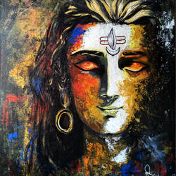 lord shiva, 20 x 24 inch, apurva suvarna,religious paintings,lord shiva paintings,canvas,acrylic color,20x24inch,GAL0477511054