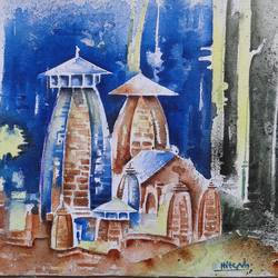 tample with colour, 13 x 9 inch, hitesh kumar,paintings,landscape paintings,religious paintings,nature paintings,paintings for dining room,paintings for living room,paintings for bedroom,paintings for office,paintings for hotel,canvas,acrylic color,13x9inch,GAL0411511055Nature,environment,Beauty,scenery,greenery