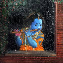 baby krishna , 18 x 24 inch, purvii parekh,paintings,radha krishna paintings,paintings for dining room,paintings for living room,paintings for office,paintings for kids room,paintings for hotel,canvas,oil,18x24inch,GAL0340011062,krishna,lordkrishna,flute,music,love,