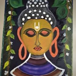 of budha, 14 x 20 inch, urvashi bhamblani,paintings,buddha paintings,ivory sheet,oil,14x20inch,GAL0478311065