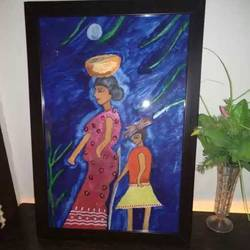 lady and small kid , 14 x 20 inch, urvashi bhamblani,portrait paintings,paintings for dining room,paintings for living room,paintings for office,paintings for hotel,fabriano sheet,poster color,14x20inch,GAL0478311069