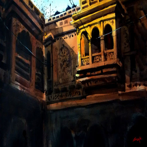 old jaipur haveli, 21 x 15 inch, sankar thakur,cityscape paintings,paintings for living room,fabriano sheet,watercolor,21x15inch,GAL07111