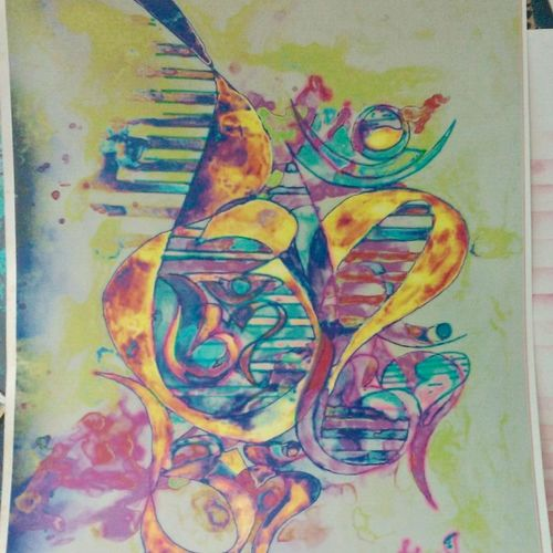 om, 16 x 20 inch, sneh bhasin,religious paintings,paintings for bedroom,canvas,acrylic color,16x20inch,GAL04661115