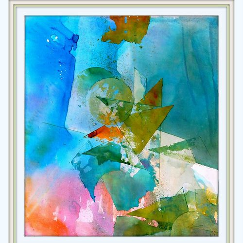 abstract, 16 x 16 inch, sneh bhasin,abstract paintings,paintings for office,canvas,watercolor,16x16inch,GAL04661116