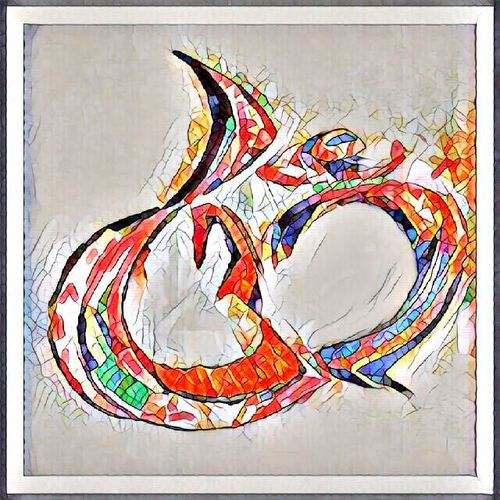 om, 16 x 16 inch, sneh bhasin,religious paintings,paintings for bedroom,thick paper,acrylic color,16x16inch,GAL04661118