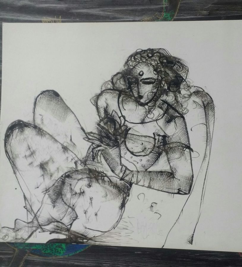 the lady, 16 x 16 inch, sneh bhasin,modern art paintings,paintings for bedroom,canvas,charcoal,16x16inch,GAL04661119