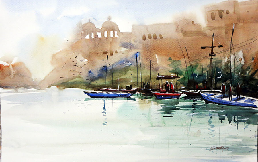 purana qila delhi, 21 x 15 inch, sankar thakur,landscape paintings,paintings for living room,fabriano sheet,watercolor,21x15inch,GAL07112