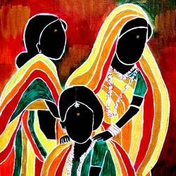 santhali women , 16 x 20 inch, shuchita srivastava,paintings,folk art paintings,paintings for living room,paintings for living room,canvas,acrylic color,16x20inch,GAL0398411261