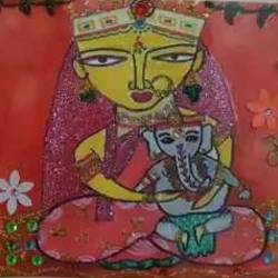 maa parvati, 18 x 11 inch, urvashi bhamblani,religious paintings,ivory sheet,poster color,18x11inch,GAL0479111264