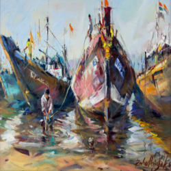 Fishing Boats on Sea Sore art print by Gallerist