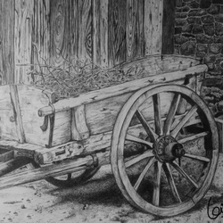 the cart, 14 x 11 inch, biju puthiyapurail,fine art drawings,paintings for living room,drawings,conceptual drawings,paintings for office,paintings for hotel,paintings for school,ivory sheet,ball point pen,14x11inch,GAL04741129