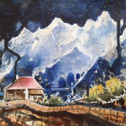beautiful house with mountain, 13 x 8 inch, hitesh kumar,paintings,landscape paintings,paintings for dining room,paintings for living room,paintings for bedroom,paintings for office,paintings for hotel,canvas,acrylic color,13x8inch,GAL0411511292