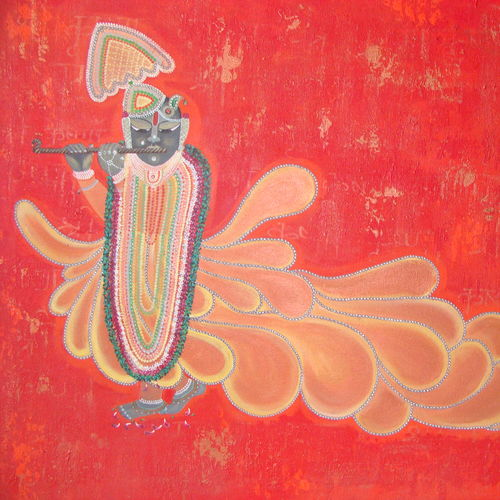 shreenathji_ lord of love , 44 x 34 inch, purvii parekh,religious paintings,paintings for dining room,paintings for living room,paintings for hotel,canvas,acrylic color,44x34inch,GAL0340011293