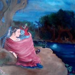 radha krishna in shringar rasa, 30 x 40 inch, purvii parekh,radha krishna paintings,realistic paintings,paintings for living room,paintings for bedroom,paintings for hotel,paintings for living room,paintings for bedroom,paintings for hotel,canvas,oil,30x40inch,GAL0340011294,radhakrishna,love,pece,lordkrishna,lordradha,peace,radha,krishna,devotion,couple