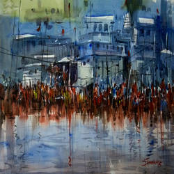 pushkar, 21 x 15 inch, sankar thakur,landscape paintings,paintings for living room,fabriano sheet,watercolor,21x15inch,GAL07113