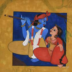 divine couple, 36 x 36 inch, purvii parekh,paintings,radha krishna paintings,paintings for living room,paintings for hotel,canvas,acrylic color,36x36inch,GAL0340011331,love,lord,flute,radhakrishna,lordkrishna,radha,krishna,music,couple,