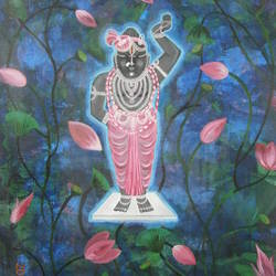shreenathji, 26 x 34 inch, purvii parekh,paintings,religious paintings,paintings for living room,canvas,acrylic color,26x34inch,GAL0340011333