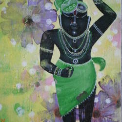 shreenathji with varnish , 12 x 30 inch, purvii parekh,religious paintings,paintings for living room,paintings for office,paintings for hotel,canvas,acrylic color,12x30inch,GAL0340011334