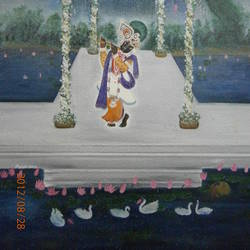 krishna, 24 x 40 inch, purvii parekh,paintings,radha krishna paintings,paintings for living room,canvas,oil,24x40inch,GAL0340011335
