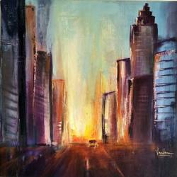 nyc at dusk, 16 x 16 inch, vandana mehta,paintings,cityscape paintings,impressionist paintings,paintings for dining room,paintings for living room,paintings for bedroom,paintings for office,paintings for hotel,canvas,acrylic color,16x16inch,GAL0402311336