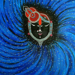 shreenathji shayan mood, 30 x 30 inch, purvii parekh,religious paintings,paintings for living room,canvas,acrylic color,30x30inch,GAL0340011337