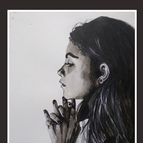 i wish, 11 x 14 inch, vandana mehta,drawings,portrait drawings,realism drawings,paintings for bedroom,paintings for office,paintings for hotel,canson paper,ink color,watercolor,11x14inch,GAL0402311338