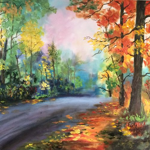 let's take a walk, 20 x 24 inch, vandana mehta,paintings,nature paintings,paintings for living room,canvas,acrylic color,20x24inch,GAL0402311341Nature,environment,Beauty,scenery,greenery