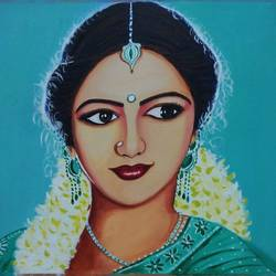 sri devi portrait, 18 x 24 inch, sandhya kumari,paintings,portrait paintings,paintings for dining room,paintings for living room,paintings for hotel,paintings for dining room,paintings for living room,paintings for hotel,cloth,acrylic color,18x24inch,GAL0365911342