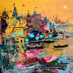 varanasi ghat- 2018, 14 x 11 inch, girish chandra vidyaratna,paintings,landscape paintings,paintings for living room,ivory sheet,acrylic color,14x11inch,GAL03611349