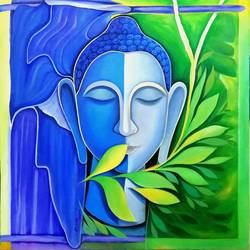 the buddha, 30 x 32 inch, a.b.  kaser,paintings,buddha paintings,figurative paintings,abstract expressionist paintings,canvas,acrylic color,30x32inch,religious,peace,meditation,meditating,gautam,goutam,buddha,lord,blue,green,face,GAL063611350