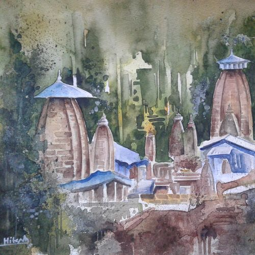 tample series ii, 12 x 9 inch, hitesh kumar,paintings,landscape paintings,paintings for dining room,paintings for living room,paintings for office,paintings for hotel,thick paper,watercolor,12x9inch,GAL0411511351