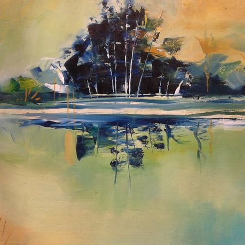 lake, 20 x 12 inch, hitesh kumar,paintings,landscape paintings,paintings for dining room,paintings for living room,paintings for bedroom,paintings for office,paintings for hotel,thick paper,oil,20x12inch,GAL0411511352