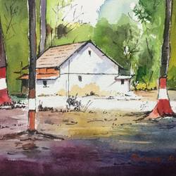 watercolour landscape , 10 x 7 inch, roshan agarwal,landscape paintings,paintings for living room,paintings for office,paintings for hotel,paintings for living room,paintings for office,paintings for hotel,canson paper,watercolor,10x7inch,GAL0413011354