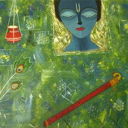 krishna abstract, 22 x 32 inch, preeti bhatt,abstract paintings,paintings for living room,radha krishna paintings,canvas,acrylic color,22x32inch,GAL04681136