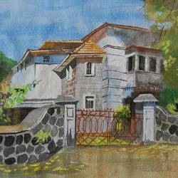 villa , 15 x 12 inch, lalit  r,landscape paintings,paintings for living room,paintings for living room,thick paper,watercolor,15x12inch,GAL0482811369