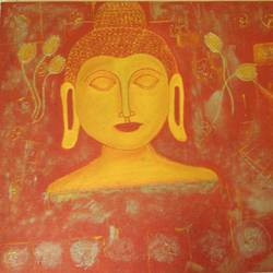 lord buddha - golden, 22 x 32 inch, preeti bhatt,buddha paintings,paintings for office,paintings for living room,canvas,oil paint,22x32inch,religious,peace,meditation,meditating,gautam,goutam,buddha,orange,yellow,face,leafs,lotus,GAL04681137