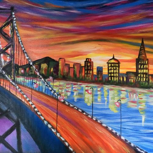 the city 2, 34 x 14 inch, sagar jakz,paintings,landscape paintings,paintings for living room,paintings for living room,canvas,oil,34x14inch,GAL0457011371