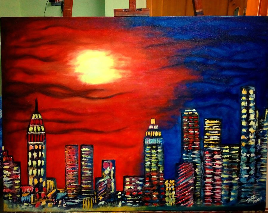 the city 1, 32 x 21 inch, sagar jakz,paintings,cityscape paintings,paintings for living room,canvas,oil,32x21inch,GAL0457011372