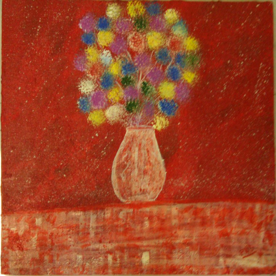 abstract flowers, 18 x 18 inch, preeti bhatt,abstract paintings,paintings for bedroom,canvas,acrylic color,18x18inch,GAL04681138