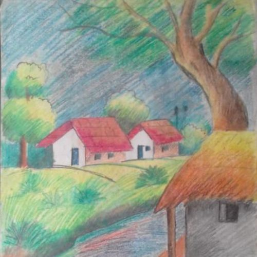 the village site, 11 x 15 inch, sangita  dey,paintings,nature paintings,paintings for living room,drawing paper,pastel color,11x15inch,GAL0483711390Nature,environment,Beauty,scenery,greenery