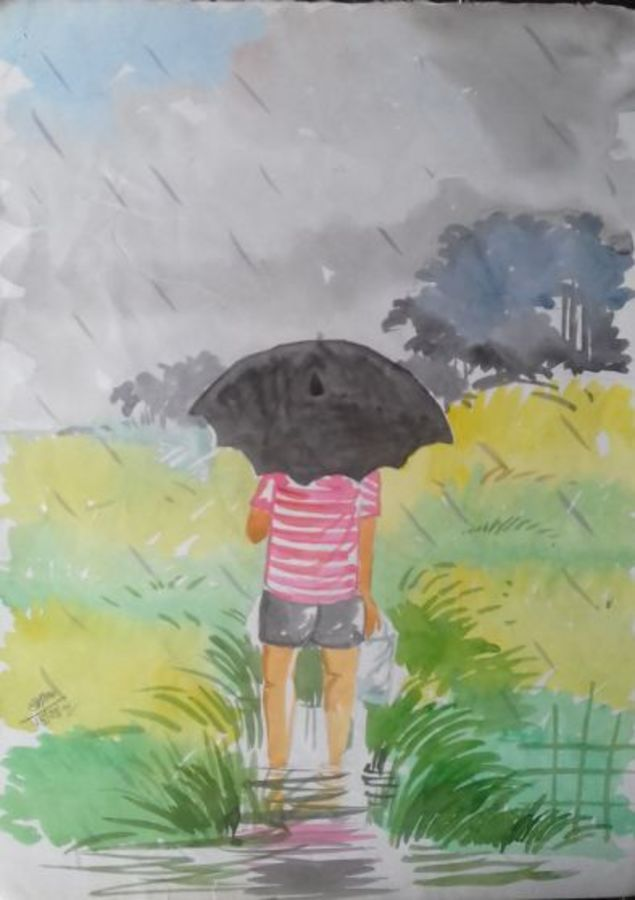the boy with black umbrella, 11 x 14 inch, sangita  dey,paintings,conceptual paintings,paintings for dining room,paintings for living room,paintings for bedroom,drawing paper,watercolor,11x14inch,GAL0483711392