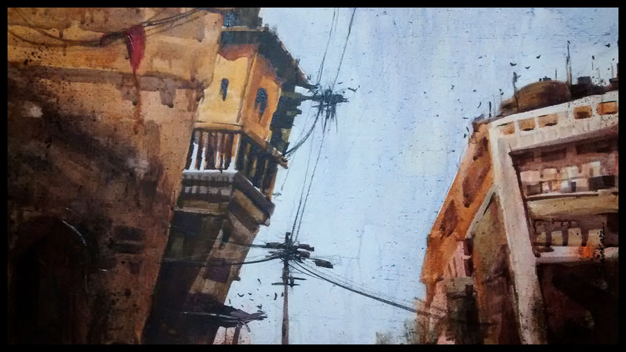 rajasthan streets, 21 x 15 inch, sankar thakur,landscape paintings,paintings for living room,fabriano sheet,watercolor,21x15inch,GAL07114